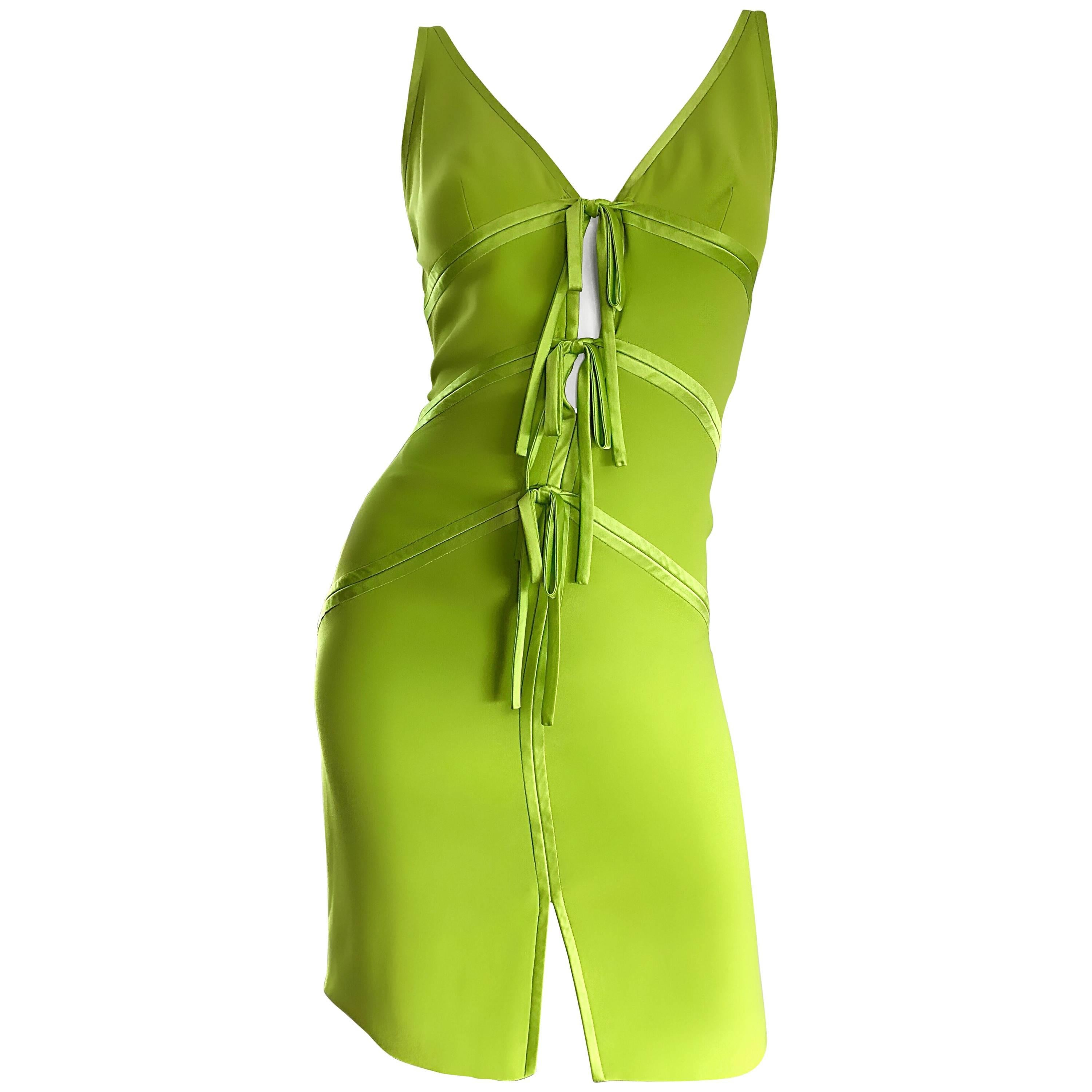Vintage Valentino Lime Green 1990s Cut - Out Bodycon Sexy Size 4 Silk 90s Dress