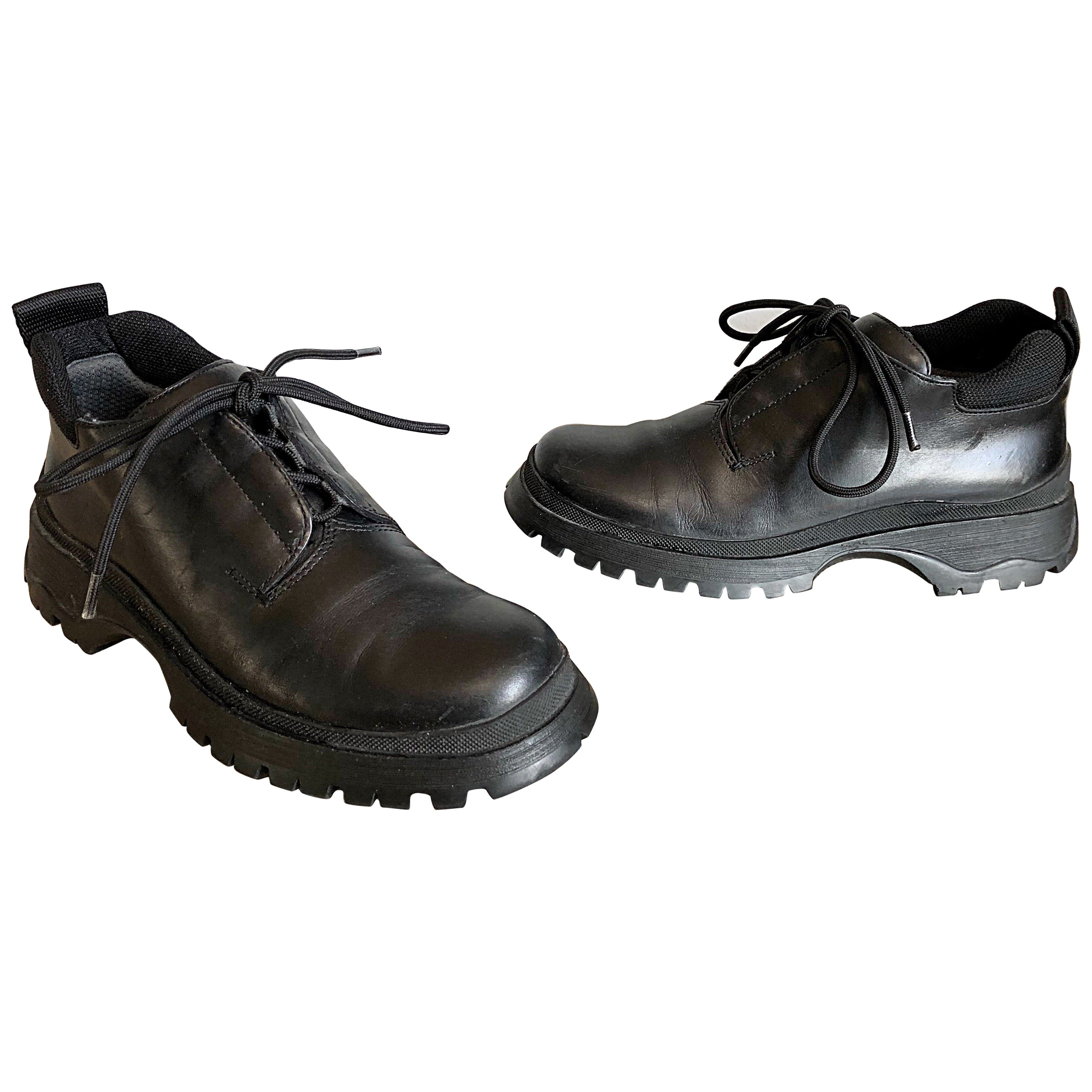 New 1990s Prada Black Leather Size 37.5 / 7.5 Chunky Vintage Flat Ankle Boots