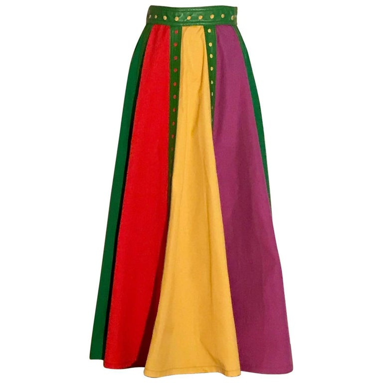 Giorgio Sant'Angelo 1970s Green Leather Trim Colorblock Maxi Skirt Long