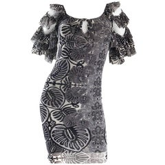 Vintage Jean Paul Gaultier Black and White Batik Print 1990s Flamenco Mini Dress