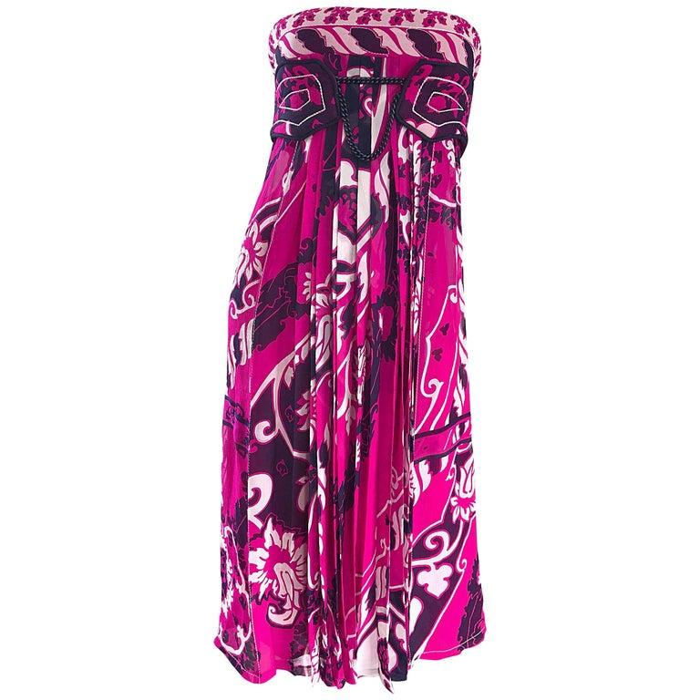 Leonard Paris Vintage 1990s Pink Fuchsia Purple Silk Chiffon Strapless Dress
