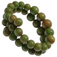 1930'S Bakelite Pea Green Round Bead Memory Bracelet