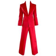 Isaac Mizrahi Vintage 1990s Lipstick Red Wide Leg Wool Le Smoking 90s Pants Suit
