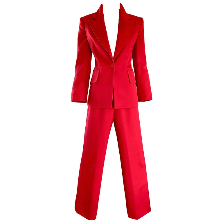 Isaac Mizrahi Vintage 1990s Lipstick Red Wide Leg Wool Le Smoking 90s Pants Suit 1