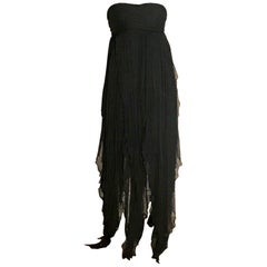 Alexander McQueen 2008 Black Silk Stripe Strapless Dress Gown with Floaty Skirt