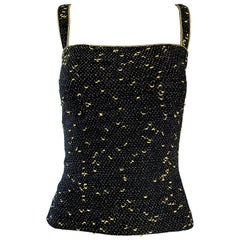 1970s Yves Saint Laurent Black and Gold Lurex Metallic Knit Sleeveless Tank Top