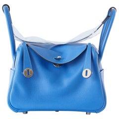 Hermes Lindy 26 Beautiful Blue Hydra Evercolor Leather Palladium