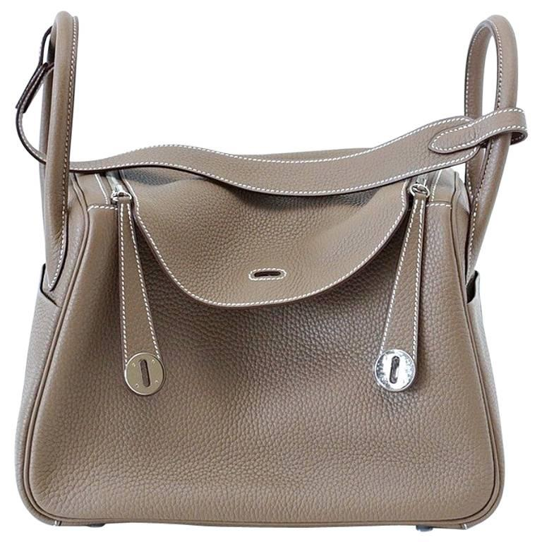 Hermes Lindy 30 Bag Coveted Etoupe Clemence Palladium For