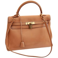 Hermes Kelly Bag 32cm Gold Box Leather + Shoulder Strap Bonwit Teller 60s Rare