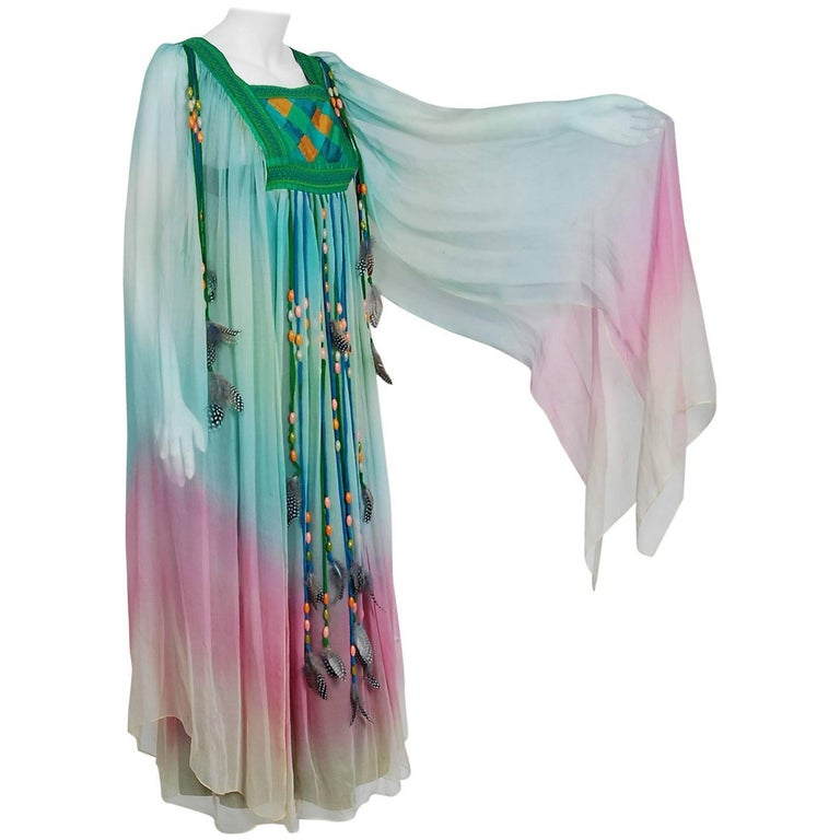 1975 Gina Fratini Elizabeth Taylor Wedding Ombre Design Chiffon Bohemian Dress