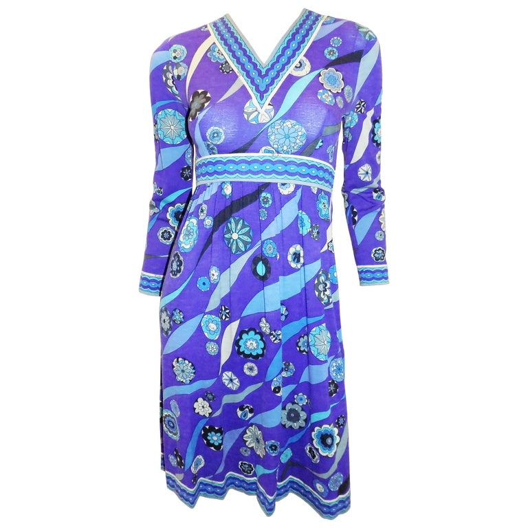 Pucci vintage blue print empire cut  wool and silk dress, 1970