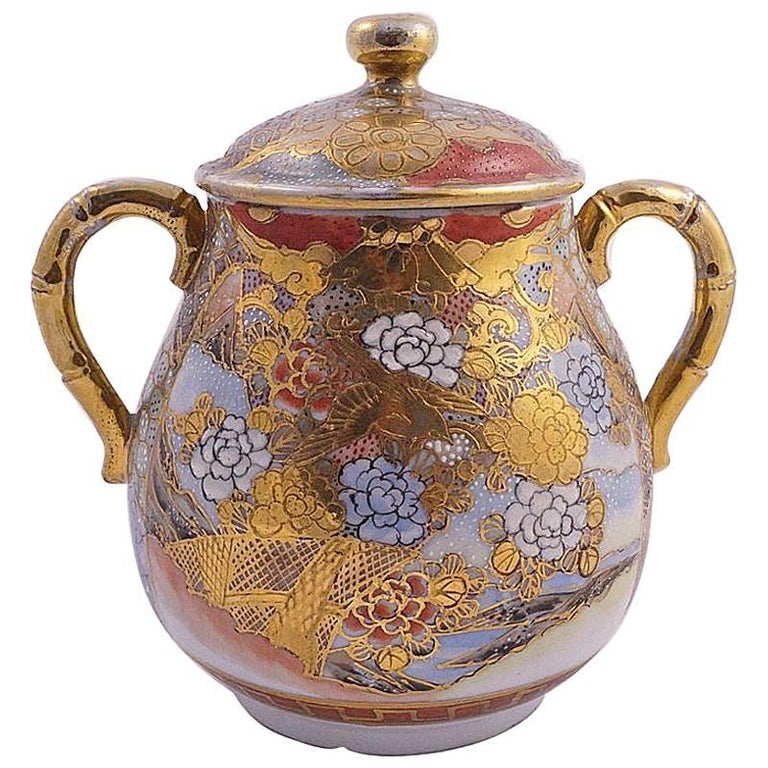 Dai Nippon Meiji Period Antique Japanese Hand Painted Porcelain Jar For Sale