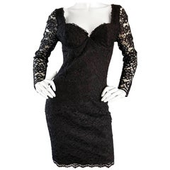 Sexy Vintage Black Silk Lace 1990s Bodycon Long Sleeve 90s Little Black Dress