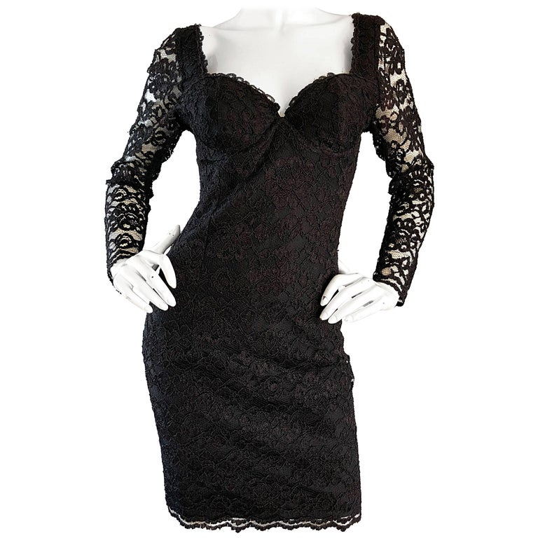 Sexy Vintage Black Silk Lace 1990s Bodycon Long Sleeve 90s Little Black Dress For Sale