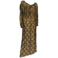 Art Deco Harvey Nichols Gold Lamé Leaf Design Evening Gown Dress