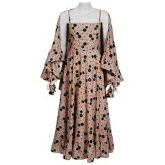 1976 Lanvin Couture Abstract Dotted Floral Print Silk Bohemian Dress & Shawl