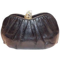 Vintage Judith Leiber Exotic skin evening bag/ clutch  with jeweled butterfiy