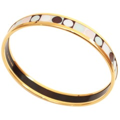 Hermes Narrow Enamel Bracelet Colorful Dots Bangle Gold Plated Size 62 + Box