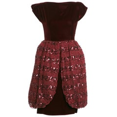 Vicky Tiel Vintage Bordeaux Velvet Tulle Sequins Cocktail Dress