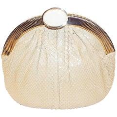 Judith Leiber Beige Snake Skin Frame Handbag Clutch with large oval  Stone Clasp