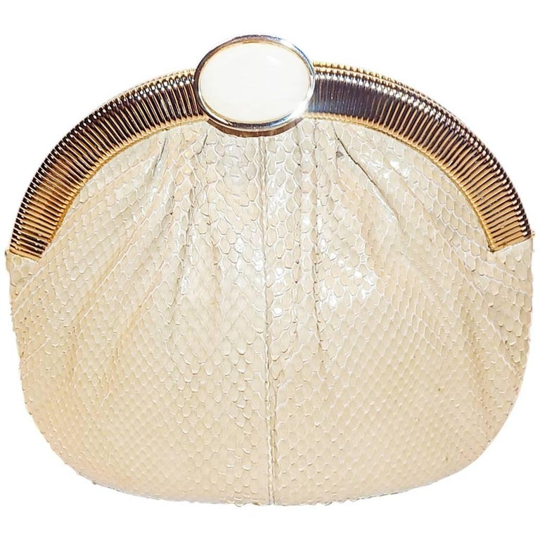 Judith Leiber Beige Snake Skin Frame Handbag Clutch with large oval  Stone Clasp