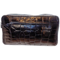 Mauro Governa crocodile large black clutch bag Mens accessories bag