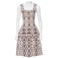 Azzedine Alaia Snow Leopard Sleeveless Dress Size 40  New