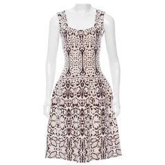 Azzedine Alaia Snow Leopard Sleeveless Dress Size 40  New