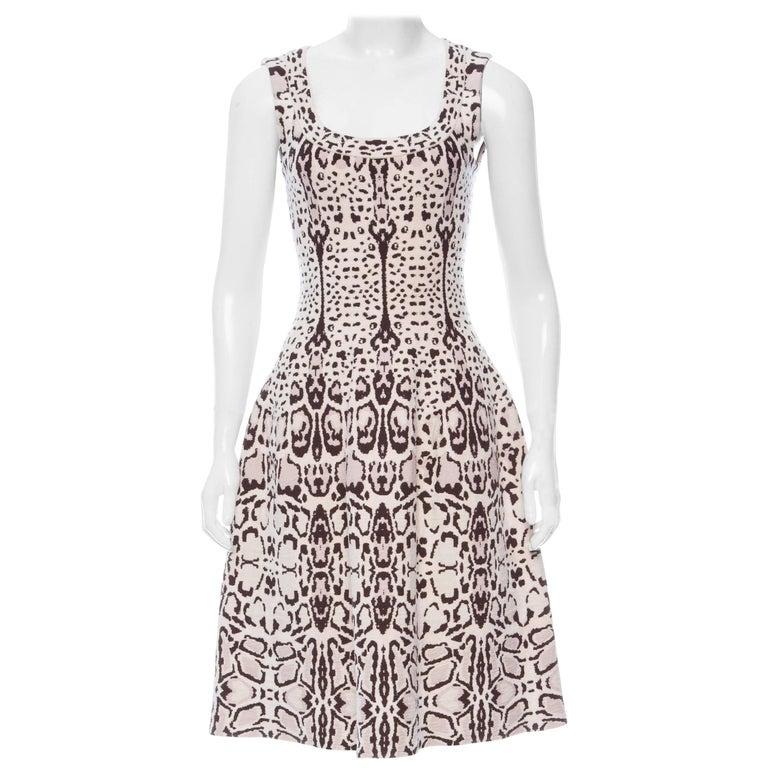 Azzedine Alaia Snow Leopard Sleeveless Dress Size 40  New For Sale