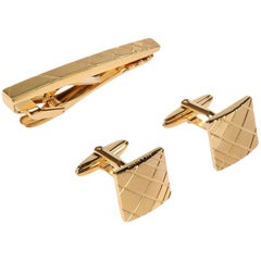 Lanvin NEW Gold Textured Men's Suit Tie Clip and Cufflinks Gift Set