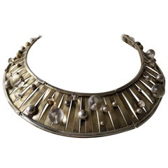 1960s Gilt on Sterling Modernist Collar with Pools of Light