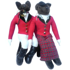 Whimsical Pair of Fox Hunting Stuffed Figures  c 1980s
