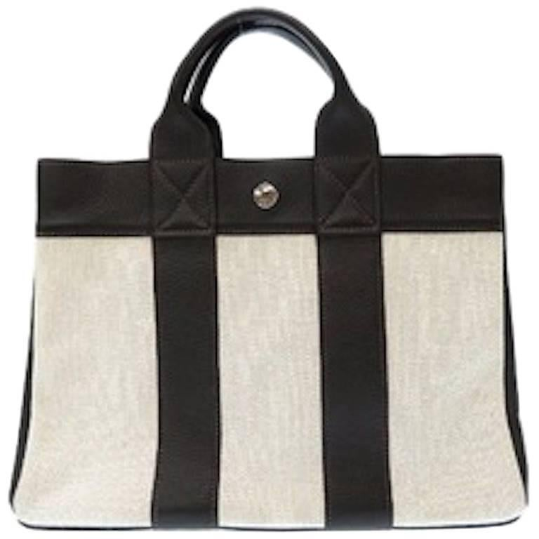 Hermes Canvas Black Leather Trim Men's Weekender Large Carryall Travel Tote Bag