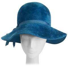 d68f8c659a5 1960s Cerulean Blue Felt Wide Brim Floppy Hat