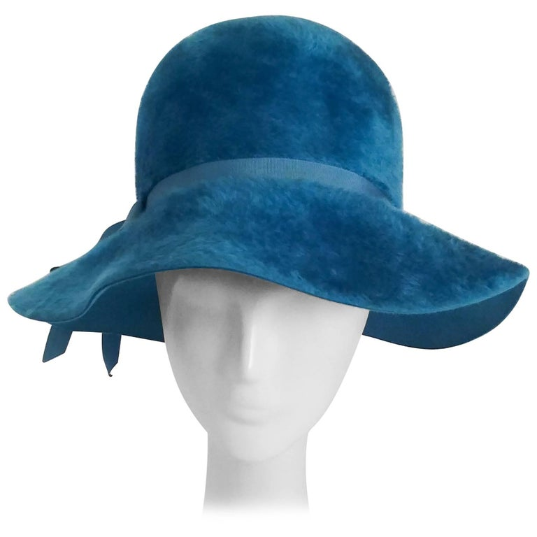 1960s Cerulean Blue Felt Wide Brim Floppy Hat 1