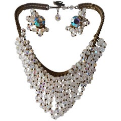 1960s Josef Morton Serpentine Chain Necklace w Crystal Waterfall Bib & Earrings