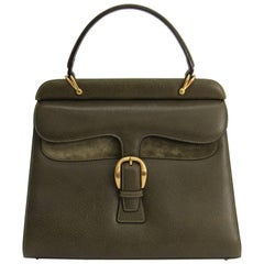 Gucci Olive Green Leather Gold Kelly Style Evening Top Handle Satchel Flap Bag