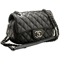 CHANEL 2015 Chain Shoulder Bag Black Quilted Flap Zip Lambskin