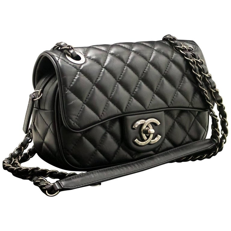 8a7fa8f4eef8 CHANEL 2015 Chain Shoulder Bag Black Quilted Flap Zip Lambskin For Sale