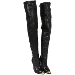 New Versace Over-the-knee Gold-tone Hardware Black Boots 36 - 6