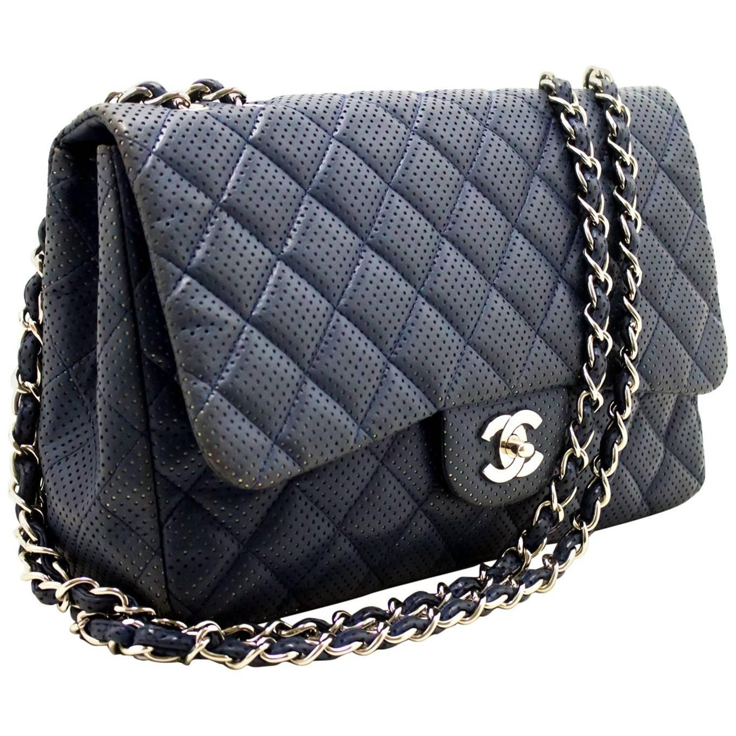 1faba78d9c5a CHANEL Navy Punching Leather Chain Shoulder Bag Quilted Flap SV at 1stdibs
