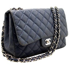 CHANEL Navy Punching Leather Chain Shoulder Bag Quilted Flap SV