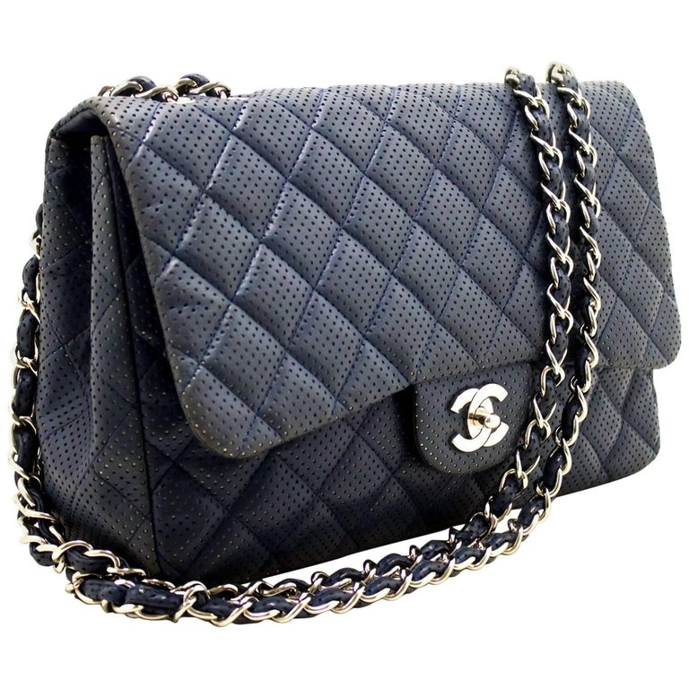 15a57ccfd64e CHANEL Navy Punching Leather Chain Shoulder Bag Quilted Flap SV For Sale