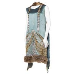 1920s Beaded Dress with Fur Hem and Lamé shawl