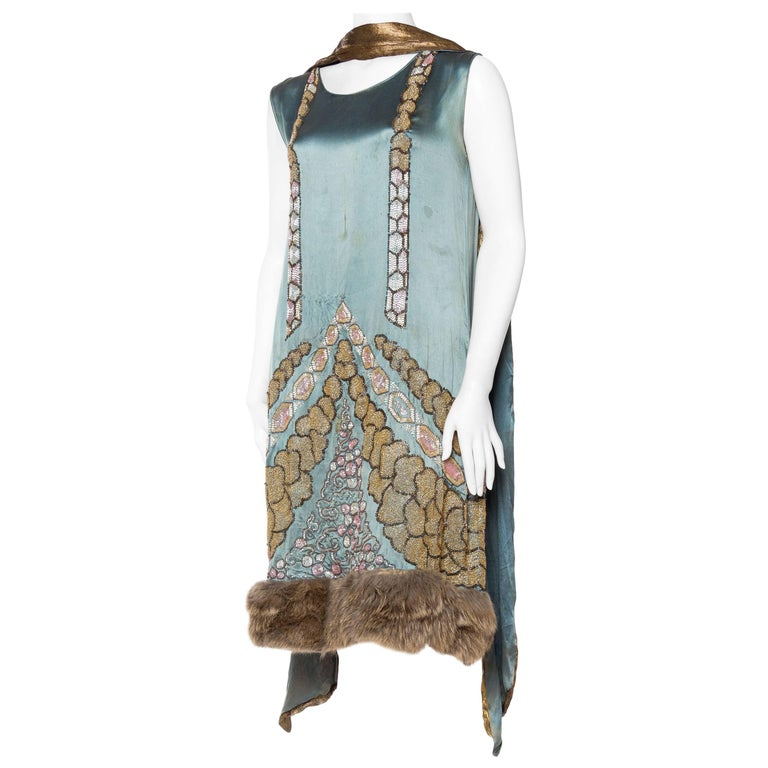 1920s Beaded Dress With Fur Hem And Lamé Shawl For