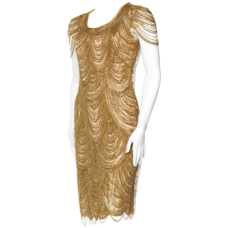Naeem Khan Nude Dress Dripping in Gold Chains