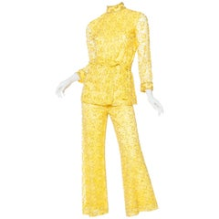 1960s Gold Beaded Lace Pant Suit
