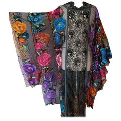 1950s Caftan with Traditional Mexican Embroidery Panels and Mixed Lace