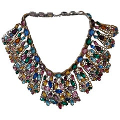 1940s Stained Glass Window Large Multi-Color Rhinestone Collar Necklace