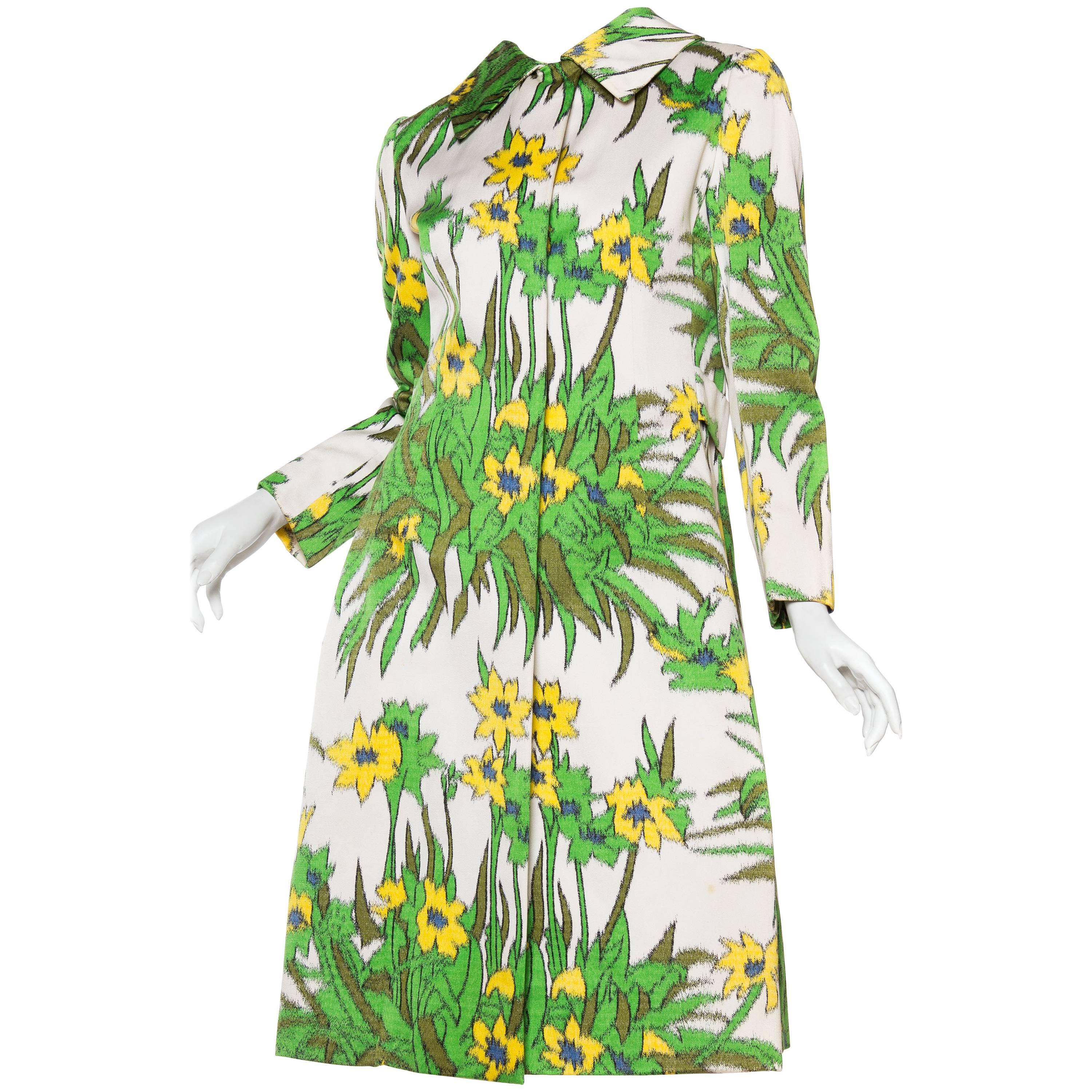 1960S CHESTER WEINBERG Green & White Cotton Floral Printed Coat